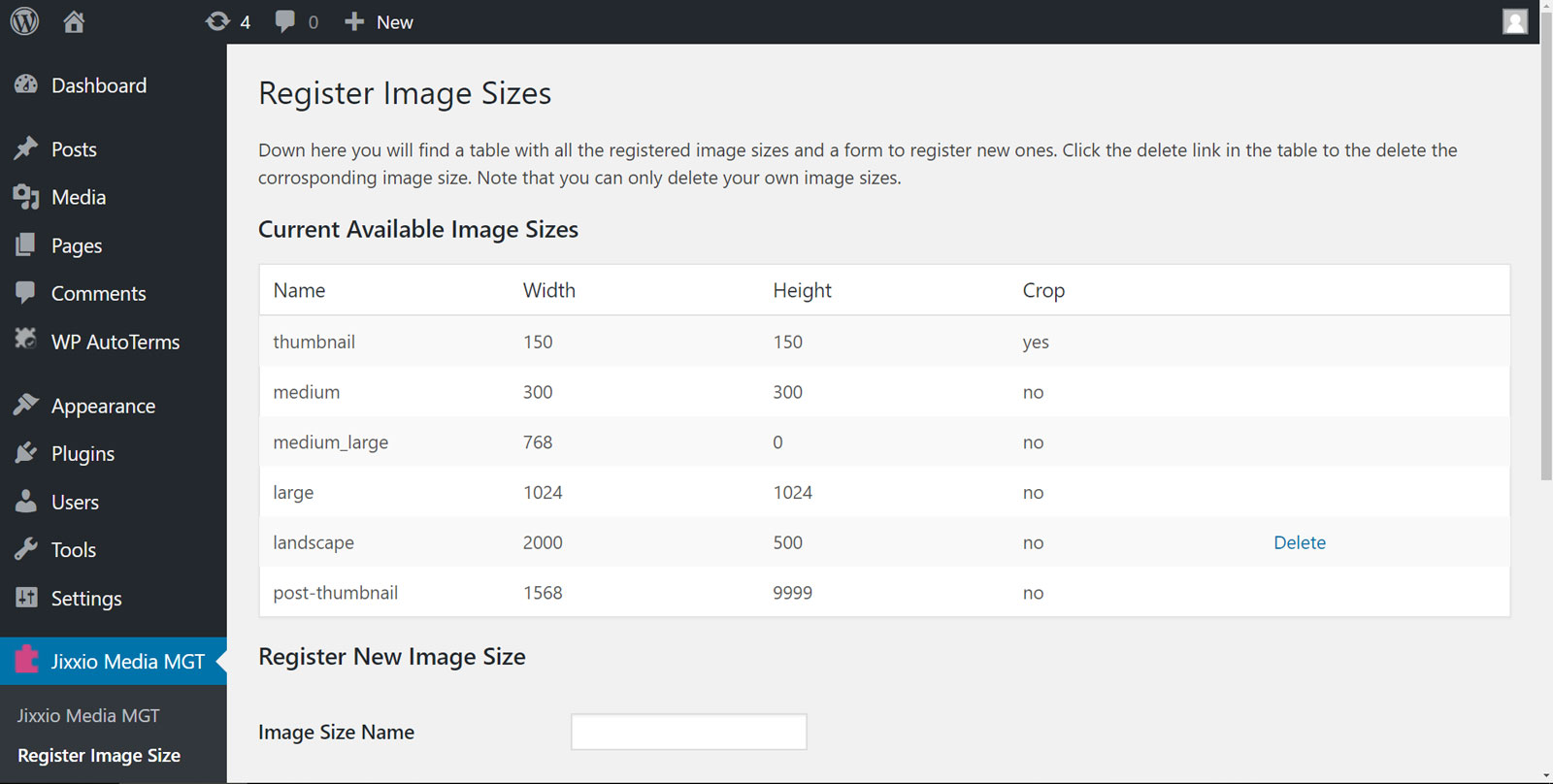 Add your own image sizes