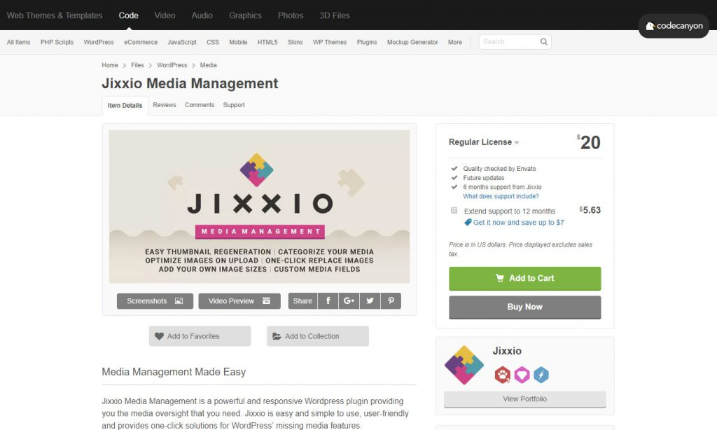 Purchase Jixxio on Envato to replace an image on wordpress